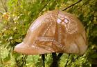 helmet cover - beige/brown w silver accents SMALL, MED