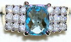 Woman's Blue & White Topaz Ring December Stone 54509