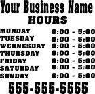 Custom Store Business Hours Sticker Vinyl Decal Sign