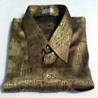 Mens Jacquard Weave Gold Thai Silk Shirt  Short - Long Sleeve S-M-L-XL-XXL-XXXL