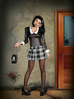 Sexy Adult Halloween DreamGirl Women's Gothic School Girl Costume w Black Wig