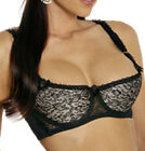 Nude Satin & Lace Cleavage Shelf Bra Open Cups D DD Push-up Plus Sizes 34-44 818
