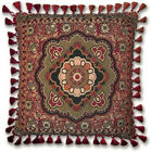 Eastern Inspired Masala Anise Woven Art Tapestry Pillow with Tassels