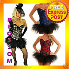 CC21 Sexy Burlesque Floral Lace Moulin Rouge Showgirl Corset Tutu Skirt Costume