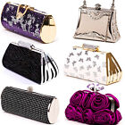 Black White Purple Red Gold Silver Pink Grey Diamante Clutch Bag Evening Handbag