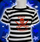 Darkside Clothing Jolly Toddler Pirate Skull Striped Black Baby Toddler Tshirt