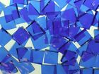 BLAZING BLUE HAMMERED handcut stained glass mosaic tiles #124