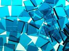 DEEP AQUA ROUGH ROLLED handcut stained glass mosaic tiles #280