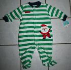 NEW Carter's Child of Mine Green Striped Fleece SANTA'S HELPER Sleep & Play Inf