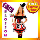 F75 Red Queen of Hearts Alice In Wonderland Fancy Dress Halloween Costume & Hat