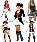 Ladies Pirate Fancy Dress Costume + Hat UK Size 8 10 12 14 16 Choose Your Style