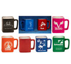 8 oz. Personalized Ceramic Square Mugs 6 Colors - Wedding Gift - Grad Gift -