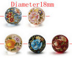 5pc Acrylic Tensha Beads Round Floral Design W/Accents Reminiscent 18mm D0339
