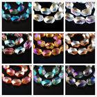 18x12mm Charms Faceted Glass Crystal Findings Spacer Oval Hexagon Loose Beads