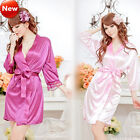 Women Sexy Satin Lingerie Chiffon Sleepwear Nightdress Robes Lace G-string Gown
