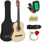 New Beginners Acoustic Guitar With Guitar Case, Strap, Tuner and Pick Natural