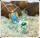 Irridescent Dichroic Glass Pendant & Chain Necklace - Flame Crystal Ice - Silver