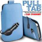LEATHER PULL TAB POUCH SKIN CASE COVER & CAR CHARGER FOR BLACKBERRY MOBILES