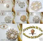 PEARL FASHION BROOCH PIN CRYSTAL MAKE DIY WEDDING BRIDEL FLORAL BLING BOUQUET