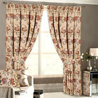 Beige JACQUARD CURTAINS Luxury Floral Tapestry Heavy Pencil Pleat Lined Curtain
