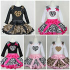 Giraffe Zebra Leopard Pettiskirt Heart Black White Long Sleeves Top 2pcs 1-7Y