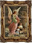 GUARDIAN ANGEL watching over CHILDREN at PLAY Victorian Vint. Antique ART PRINT