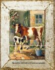 Country Ranch Farm Animals MOTHER COW & BABY CALF Barn Birds Vintage ART PRINT