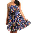 D11 -1XL 2XL 3XL Cotton Floral Rosette Belt Ruffle Sun Beach Dress Blue /Black