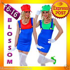 J18 Womens Super Mario Luigi Brothers Plumber Fancy Dress Up Party Costume + Hat