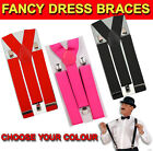 FANCY DRESS BRACES TROUSERS SUSPENDERS ADJUSTABLE MENS LADIES BLACK PINK RED