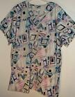 New 2 pocket VNECK scrubs top 100%cotton ABSTRACT PRINT by JF made/ USA  PLUS SZ