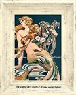 Art Deco Vintage Illustration REDHEAD MERMAID with Harp & Pond Lilies ART PRINT