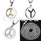 Punk Clear Crystal Movable Peace Sign Pendant Stainless Steel Chain Necklace