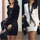Womens Korea Sexy Round Crew Neck Long Sleeve Casual Mini Dress Tops Black White