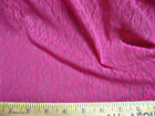 Discount Fabric Stretch Mesh Lace Rose Pink Floral on Lattice 64' wide 352LC