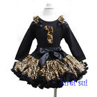 Girls Leopard Ruffles Pettiskirt 1st Birthday Long Sleeves Top Party Dress 1-7Y