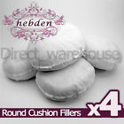 "Pack of 4 Round Hollowfibre Cushion Pads / Fillers / Inserts 16"", 18"", 20"", 22"""