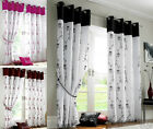 ROSE ORGANZA LINED VOILE Panels Eyelet Ring Top Ready Made Fully Lined Curtains