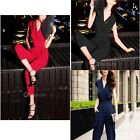 Women's V-neck Casual Trendy Overall Jumpsuit Wide-leg Pants Trousers Summer Hot