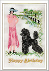 Standard Poodle Birthday Card Embroidered by Dogmania  - FREE PERSONALISATION