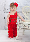 Baby Girls Red Petti Rompers Romper Lace Leg Warmers Set Outfit NB-3Y
