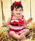 Baby Red White Black Lace Petti Romper Straps Bow NB-3T RS27