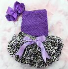 Newborn Baby Purple Leopard Ruffles Bloomers Tube Top Bow Headband 3pc NB-24M