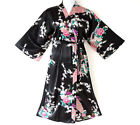 PL 9 - Plus Size Peacock Japanese Kimono Robe Black Red White, Fits 1XL 2XL 3XL