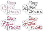 LITTLE PRINCESS BOW SM IRON-ON HOTFIX DIAMANTE CRYSTAL BLING APPLIQUE TRANSFER
