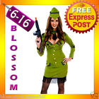 J60 Military Pin Up Army Soldier Uniform Womens Fancy Dress Up Adult Costume