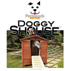 DOGGYSHOUSE Large Outdoor Dog House & Grooming Bath Built-In Ramp Steps Door