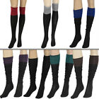 Women Green Colour Block Fleece Knee High Socks Stockings