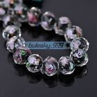 8pcs 10mm Crystal Lampwork Glass Rondelle Faceted Loose Spacer Beads Lot for DIY