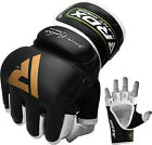 Authentic RDX Leather Gel Tech MMA UFC Grappling Gloves Fight Boxing Punch Bag Z